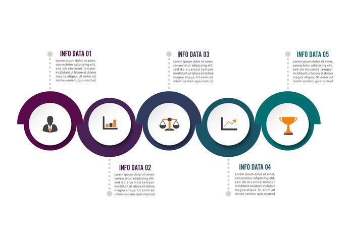 Alternativ för cirkel infographic mall fem vektor