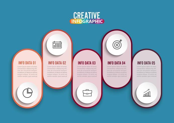 Fem steg infografik. vektor