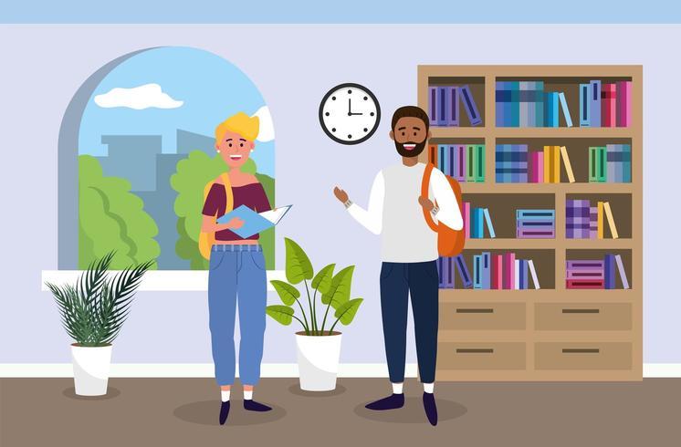 universitetsflicka och pojke med böcker i klassrummet vektor