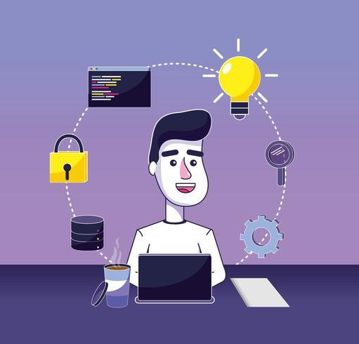 Software-Programmierer-Cartoon vektor