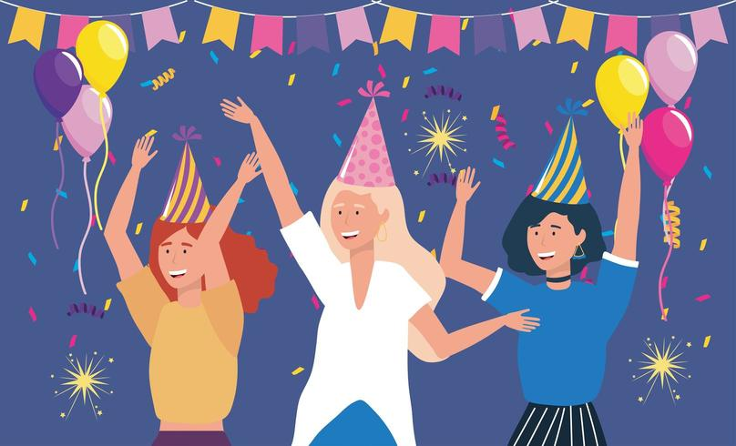 söta kvinnor med festbaner och ballonger vektor
