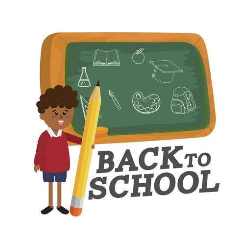 backboard och pojke student med penna redskap vektor