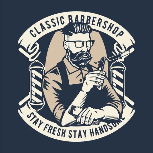 Klassisches Barbershop-Abzeichen vektor
