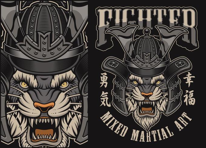 Vektorillustration med tiger i en samurajhjälm vektor
