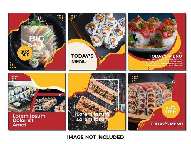 sociala mediemall med sushi eller mattema och med röd och gul färg vektor