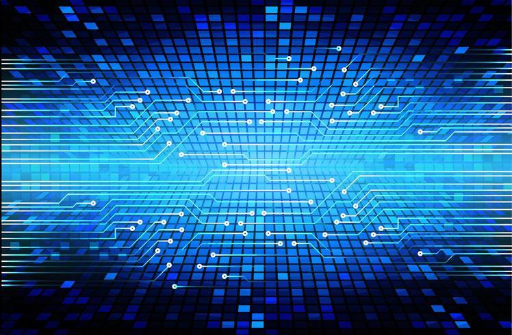 Bakgrund för framtida teknologibegrepp för blå cyberkrets vektor