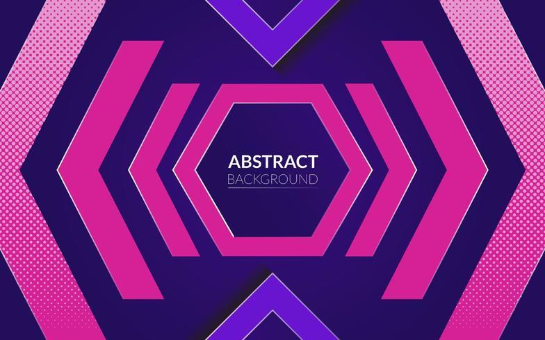 ebstrakt bakgrund med neon- och lila färgtema och hexagon vektor
