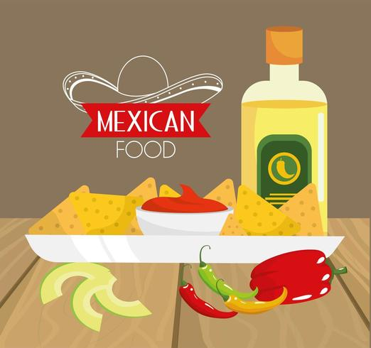 traditionelles mexikanisches Essen mit Avocado und Tequila vektor