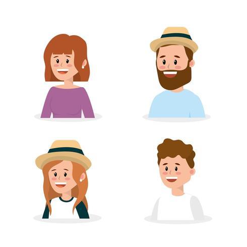 ställa in lyckligt familj folk med frisyr vektor