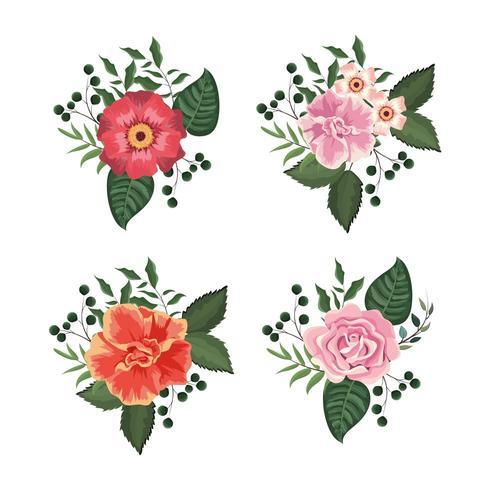 set blommor och rosor växter med blad vektor