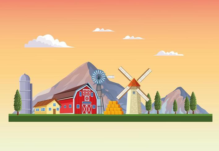 Bauernhof mit Scheunenlandschaft vektor