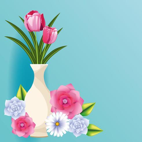 schöne Blumenkarte vektor