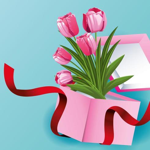 Tulpe blüht Karte mit Blumen in der Geschenkbox vektor