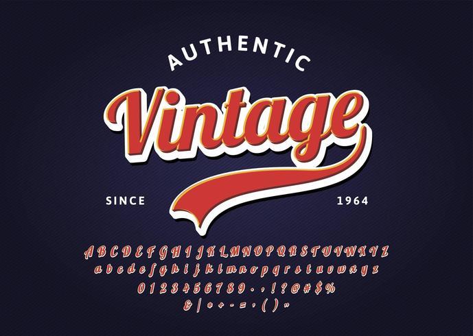 Vintage handskrivna bokstäver rubrik typsnitt. vektor
