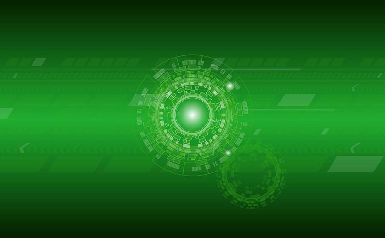 Grüner Technologiehintergrund mit Kreis- und Linienmustern vektor