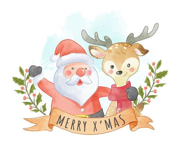 Netter Weihnachtsmann und Ren mit Weihnachtszeichen vektor