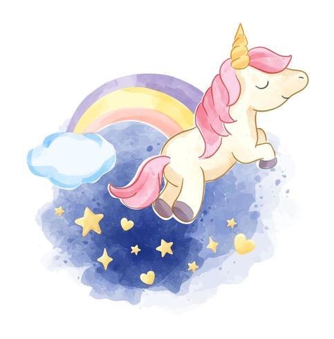 süßes Einhorn am Nachthimmel mit Regenbogen vektor