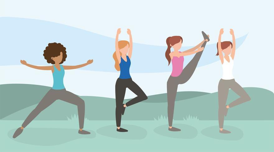 gesunde Frauen, die Übungslebensstil ausbilden vektor