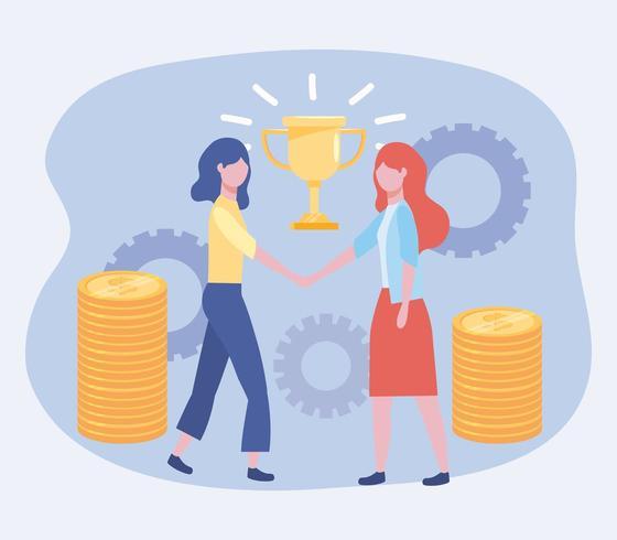 Geschäftsfrauen mit Pokalpreis und Münzen mit Zahnrädern vektor