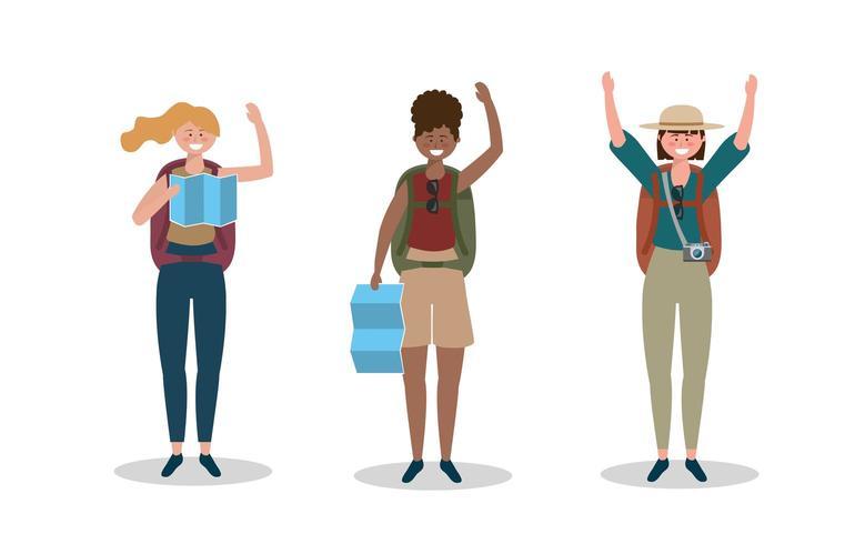 uppsättning kvinnor som bär hatt med ryggsäck och global karta vektor