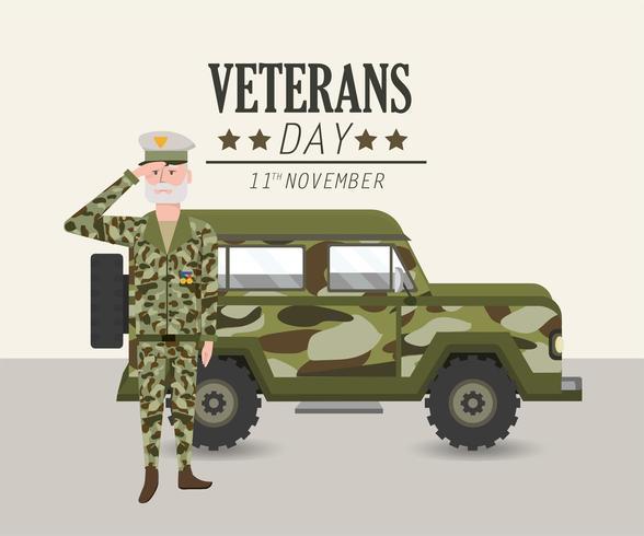 patriotisk soldat med uniform och militärbil vektor