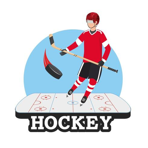 Hockeyspieler mit Stock und Puck in der Eisbahn vektor