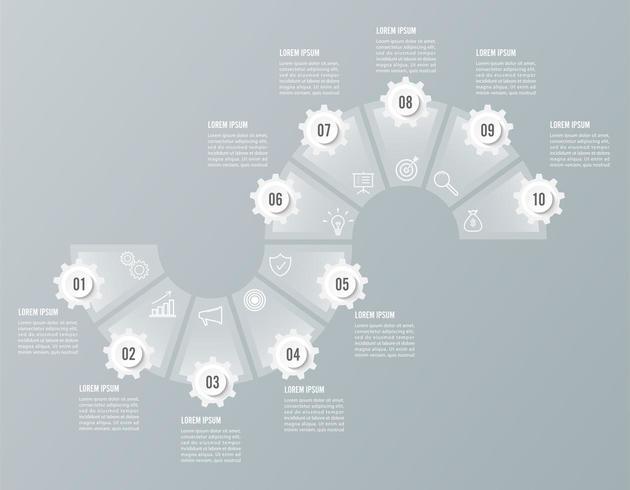 Infografikonstruktionsvektor och marknadsföringsikoner vektor