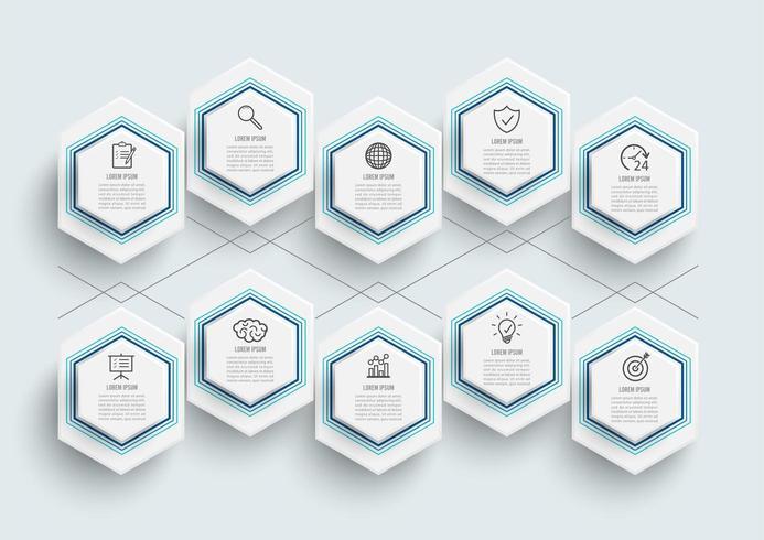 infographic mall med 3D-pappersetikett vektor
