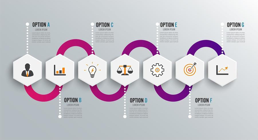 Infografik-Design-Vorlage und Marketing-Ikonen vektor