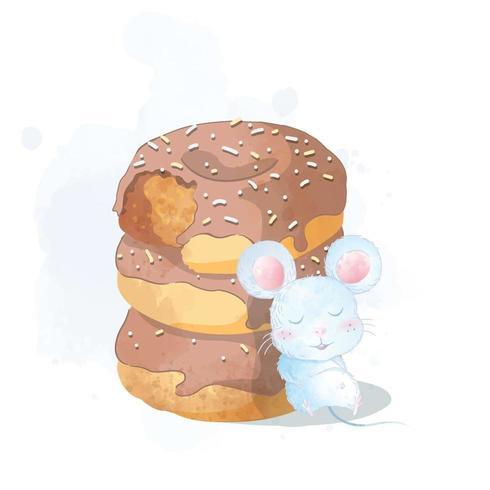 Handgemalte nette Tittle-Maus, die auf Schaumgummiringe legt vektor