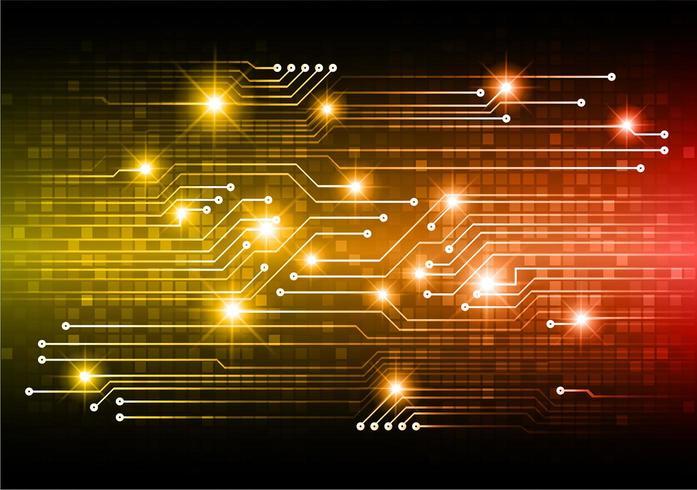 Orange framtidsteknologibegrepp för cyberkrets vektor