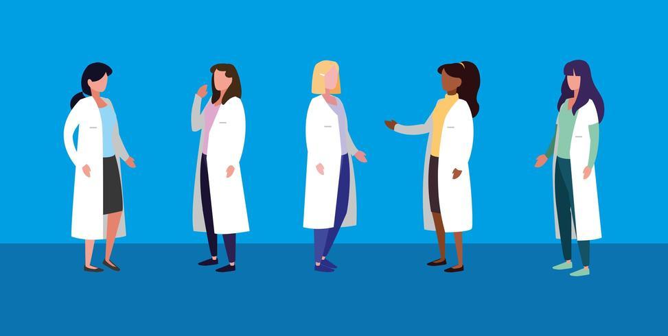 grupp av kvinnliga läkare avatar karaktär vektor