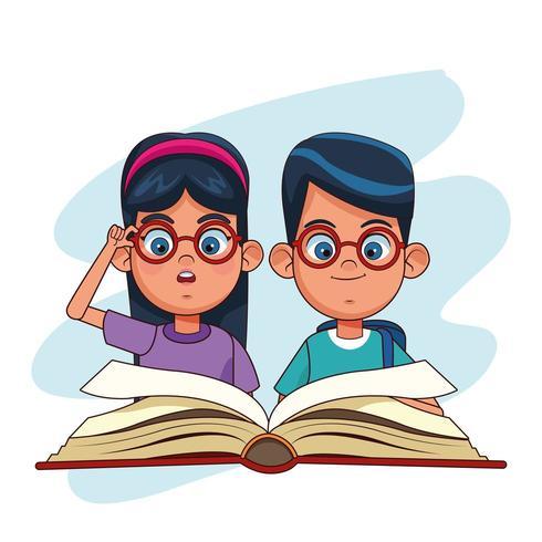 Kinder und Bücher Cartoons vektor