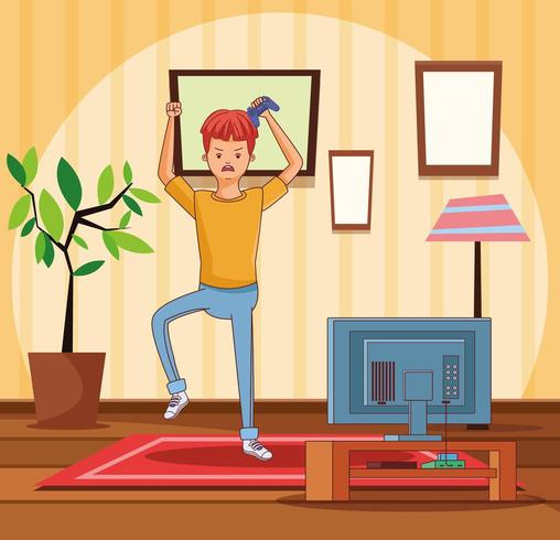 Jugendlicher mit Videospielkarikatur vektor