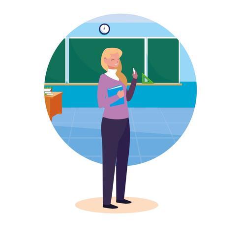 lärarkvinnlig med ram i klassrummet vektor