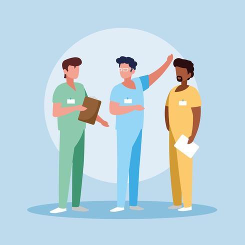 grupp läkare med enhetlig avatarkaraktär vektor