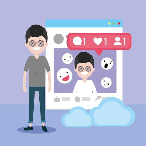 Mann mit Website-Informationen und Chat-Emojis-Nachricht vektor