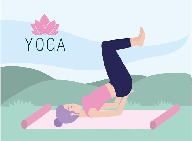 fitnass kvinna öva yogaställning i mattan vektor