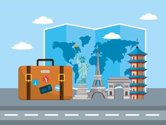 resväska med internationell platsdestination vektor