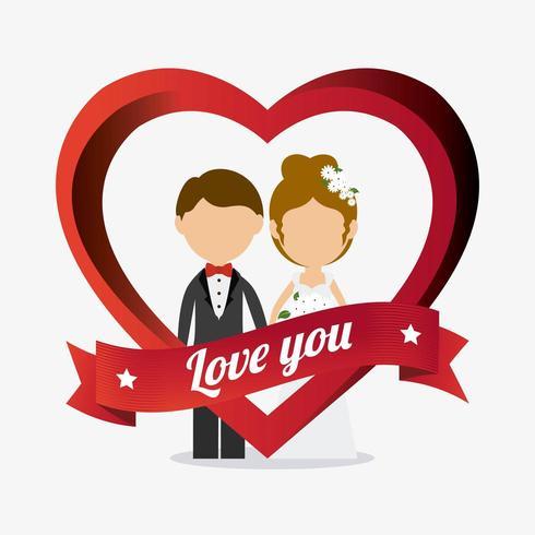 Kärlekskortsdesign med par i hjärta med banret vektor