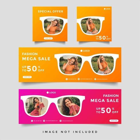 mode och livsstil omslag banner mall vektor