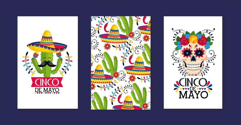 ställa in kortdekoration till traditionell mexikansk händelse vektor