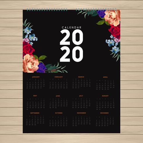 2020-kalenderdesign med blommor i hörn vektor