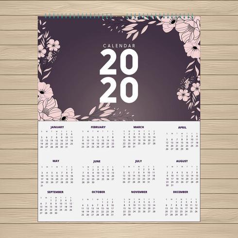 2020 rosa blommig kalenderdesign vektor