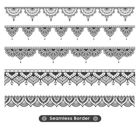 Nahtloser Mandala-Grenzsatz vektor