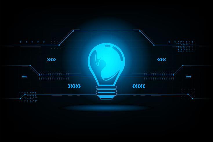 Abstrakt futuristisk anslutning för glödlampa. Funktionskoncept. Vektor och illustration