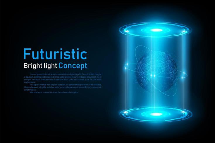 Abstrakt futuristiskt världsanslutningshologram vektor