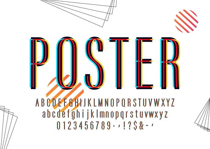 Modernt färgat affischalfabet vektor