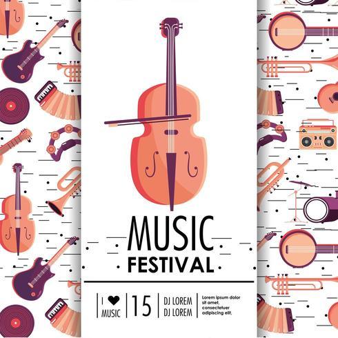 violin och instrument till musikfestivalevenemang vektor