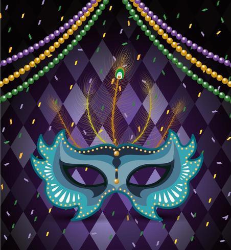 Halskettenkugeln und -maske zur Karnevalfeier vektor